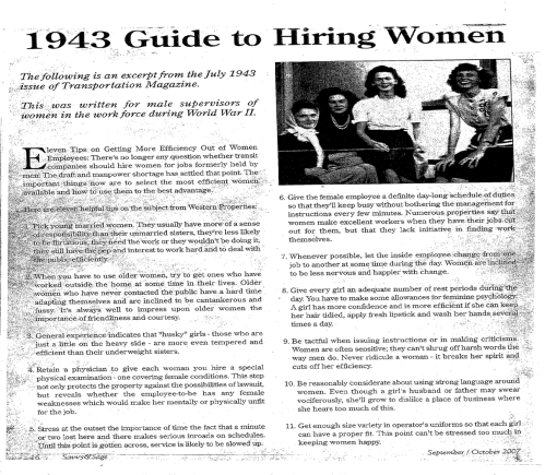 1943 Guide to Hiring Women